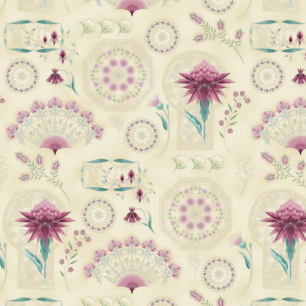 Leesa Chandler: Melba 'Project Panel' Ivory/Pink 0004 6: Cut to Order in 60cm Increments