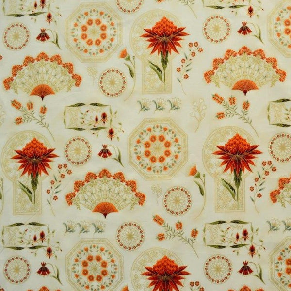 Leesa Chandler: Melba 'Project Panel' Cream/Orange 0004 8: Cut to Order in 60cm Increments