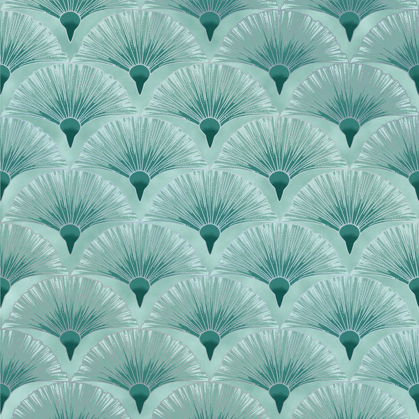 Leesa Chandler: Melba 'Fan' Teal Silver 0005 14: Cut to Order by the 1/2m