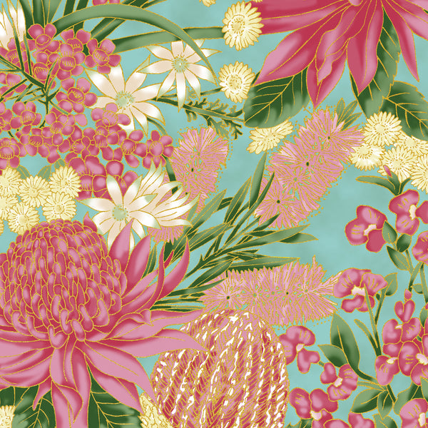 Leesa Chandler: Under The Aussie Sun 'Floral' Teal Pink 0013 14: Cut to Order by the 1/2m