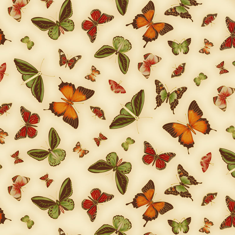 Leesa Chandler: Under The Aussie Sun 'Butterfly' Cream Orange 0025 8: Cut to Order by the 1/2m