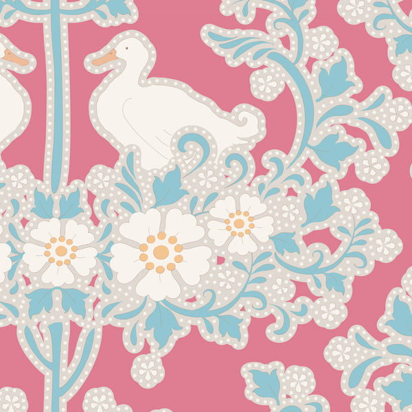 Tilda 100183 Duck Nest Peach Fabric | Natasha Makes