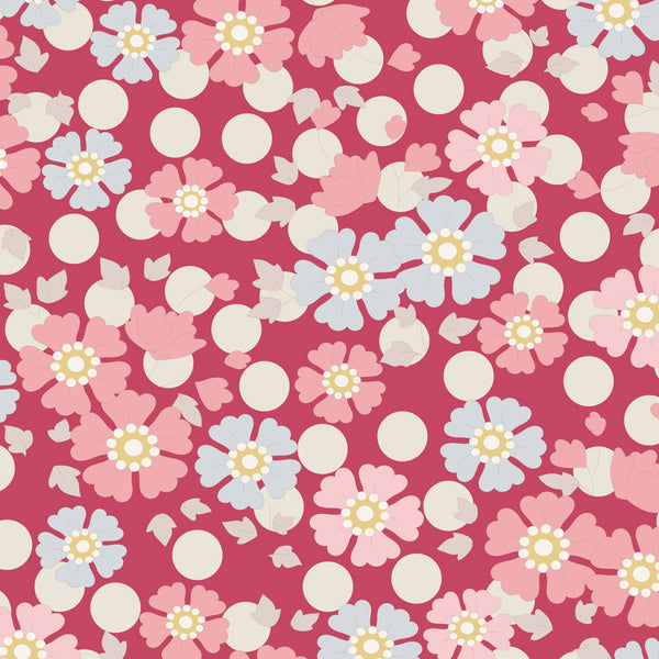 Tilda 100185 Windflower Red Fabric | Natasha Makes