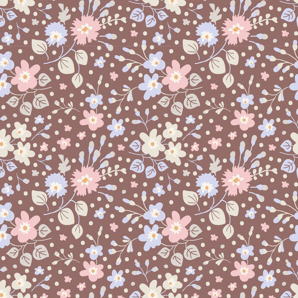 Tilda 100189 Flower Confetti nutmeg Fabric | Natasha Makes
