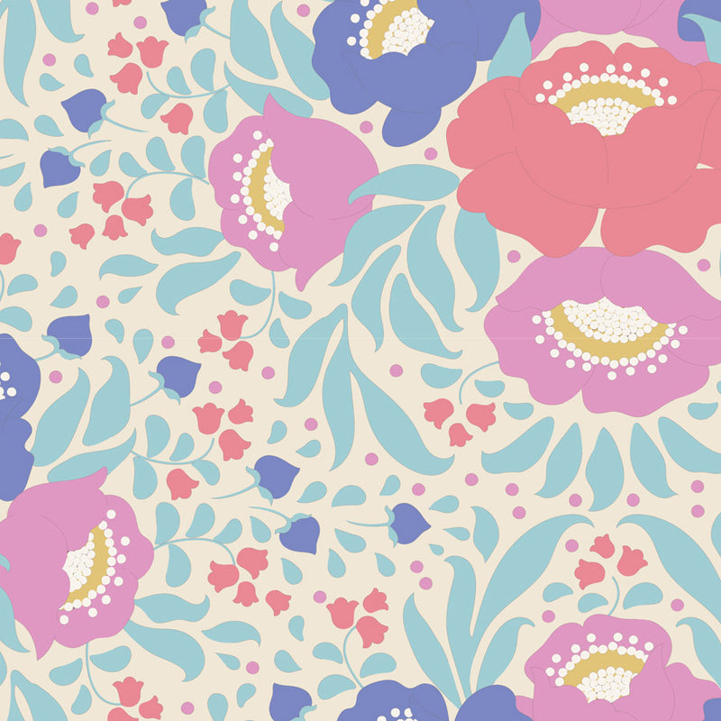 Tilda 100192 Autumn Bouquet Teal Fabric | Natasha Makes