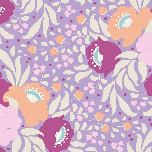 Tilda 100197 Autumn Bouquet Lavender Fabric | Natasha Makes