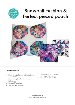 Snowball Cushion & Perfect Pieced Pouch - INSTRUCTIONS ONLY Instructions | Natasha Makes