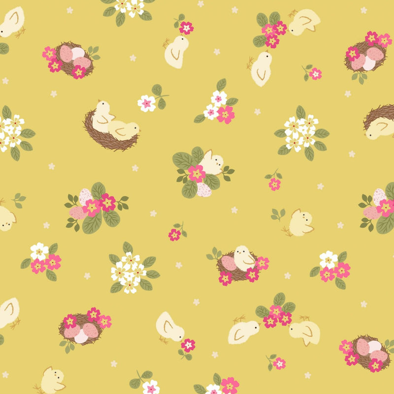 Lewis & Irene: 'Chicks' on Yellow: Cut To Order: By the 1/2m