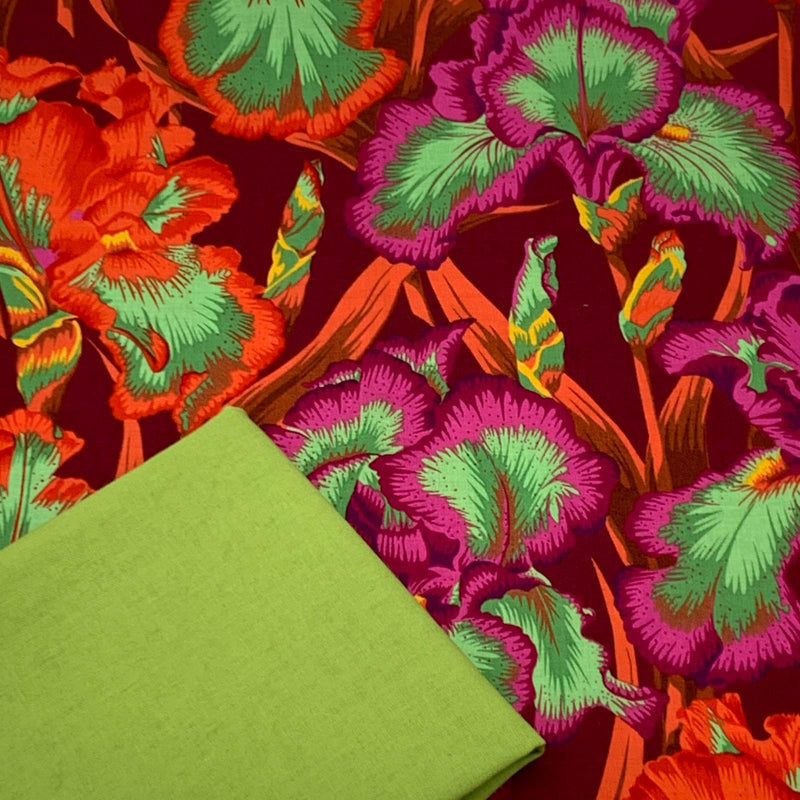 Halloween Half Metre Heaven - Kaffe Fassett Collective 'Bearded Iris Red' with Chartreuse