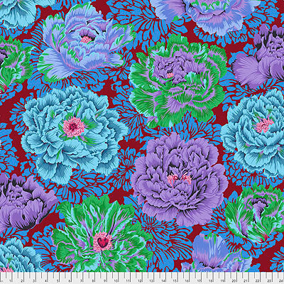 Kaffe Fassett Collective 2021: 'Brocade Peony' Cool: Cut to Order by the 1/2m