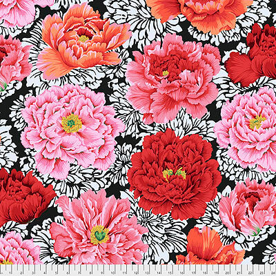 Kaffe Fassett Collective 2021: 'Brocade Peony' Crimson: Cut to Order by the 1/2m