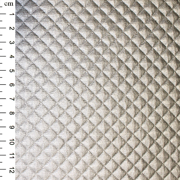 Quilted PU: Silver: Cut to Order by the 1/2m