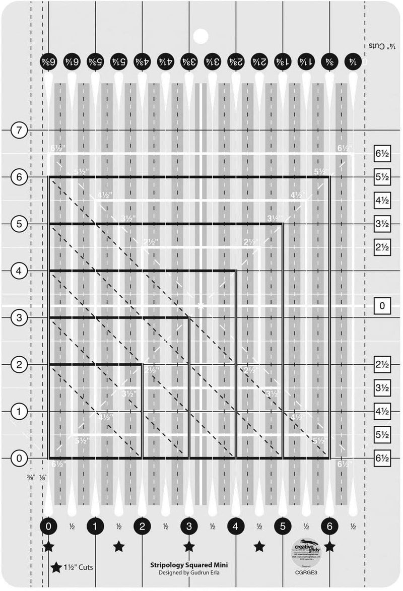 Creative Grids Stripology Squared Mini Quilting Ruler Template CGRGE3 Accessory | Natasha Makes