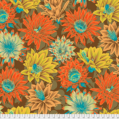 Kaffe Fassett Collective 2021: 'Cactus Flower' Brown: Cut to Order by the 1/2m
