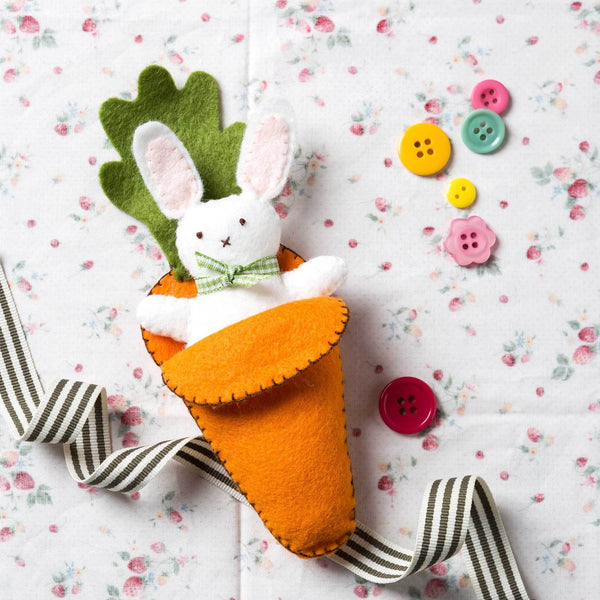 Corinne Lapierre Bunny in Carrot Bed Felt Craft Mini Kit Kit | Natasha Makes