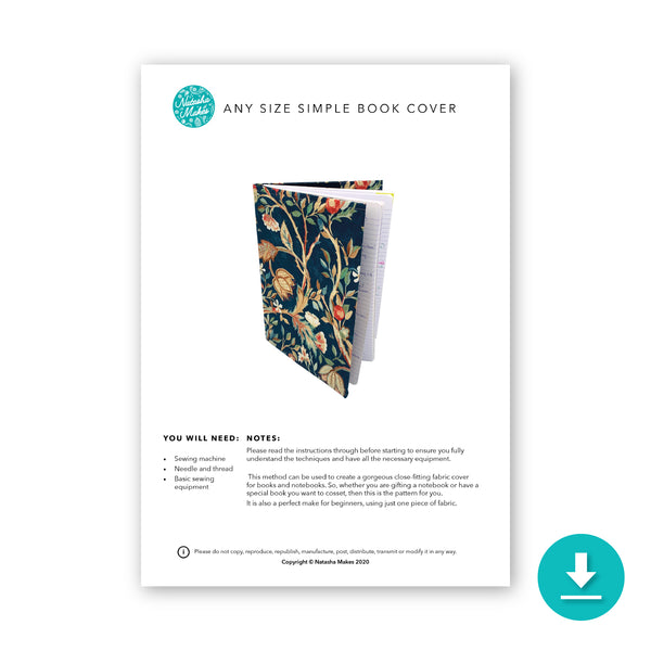 Any Size Simple Book Cover Digital Instructions