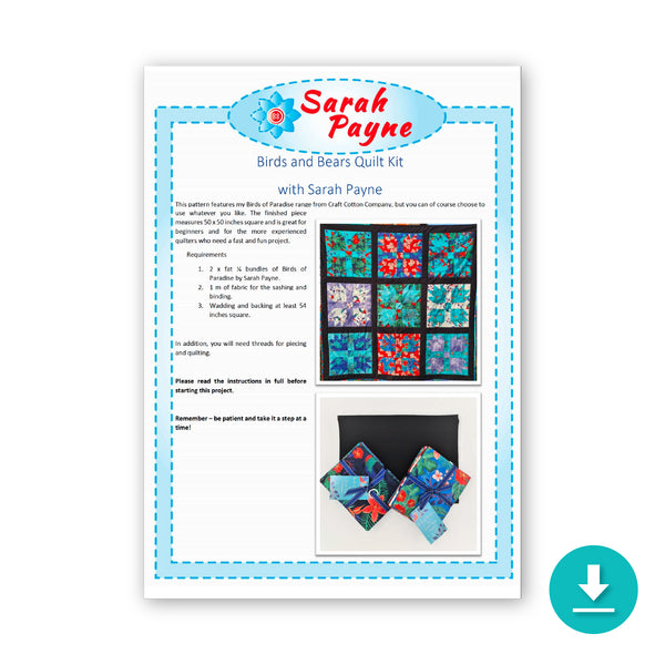 Sarah Payne: 'The Birds and the Bears' Quilt Pattern/Instructions: DIGITAL DOWNLOAD