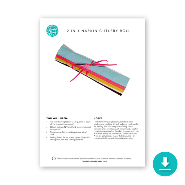 2 in 1 Napkin & Cutlery Roll - Digital Instructions