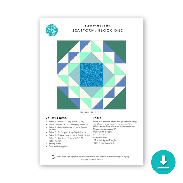 Block of the Month: Seastorm Block One Digital Instructions