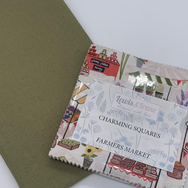 Lewis & Irene Charm Pack with FREE Coordinating Half Metre: Farmers Market with Khaki Solid