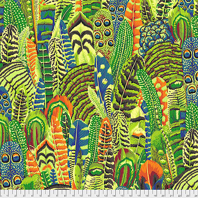 Kaffe Fassett Collective 2021: 'Feathers' Lime: Cut to Order by the 1/2m