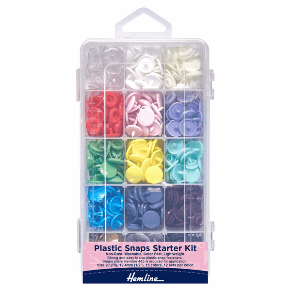 Hemline Kam Plastic Snaps: Starter Kit: 12 x 12.4mm x 15 Sets: Assorted