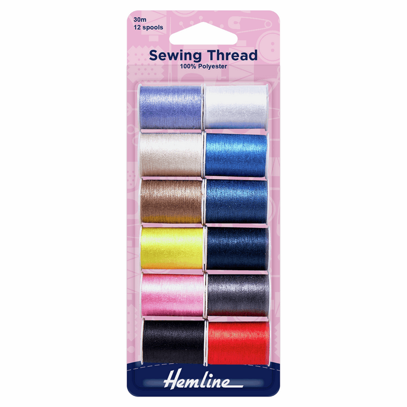 Sewing Thread: 12 x 30m: Assorted Colours