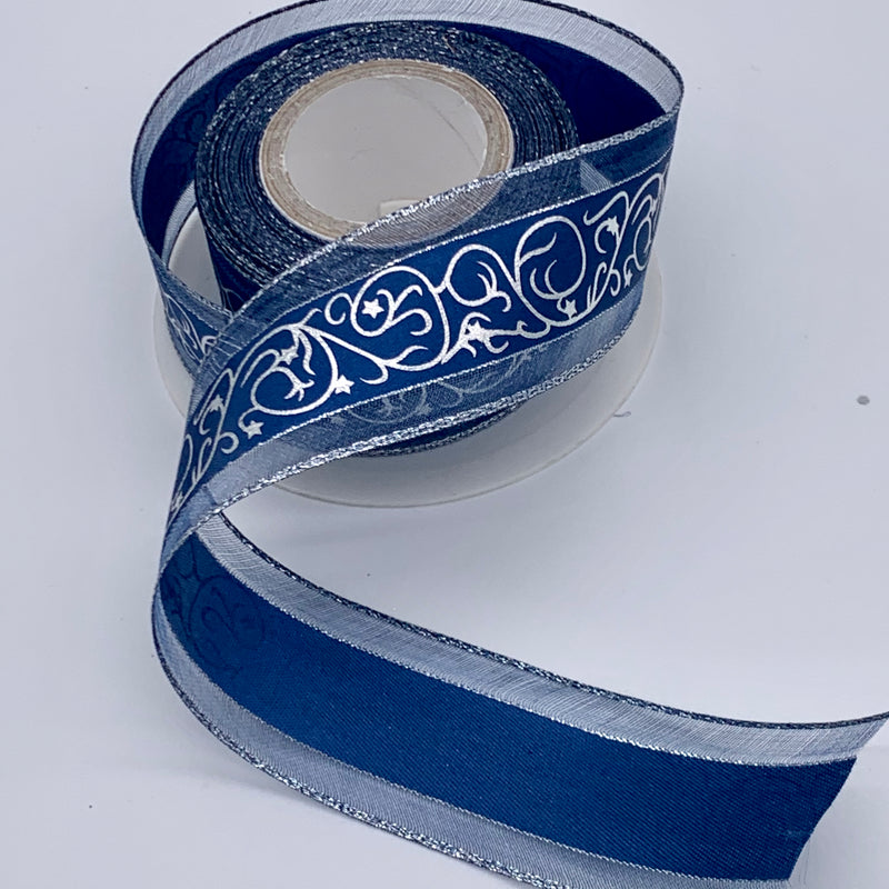 5m of 40mm Blue & Silver Filigree Christmas Ribbon