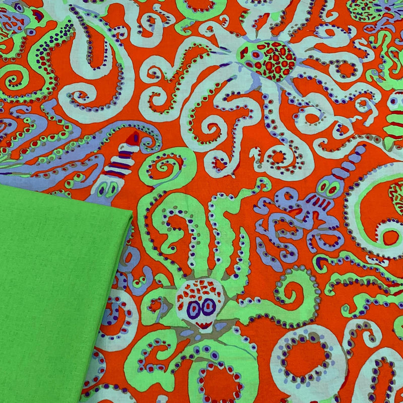 Half Metre Heaven - Kaffe Fassett Collective 'Octopus' in Orange with Lime