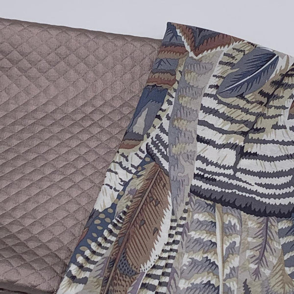 PU leather and Designer Bundle: Kaffe Fassett Collective 'Feathers Grey' 1/2m with Champagne PU Leather Fat Quarter