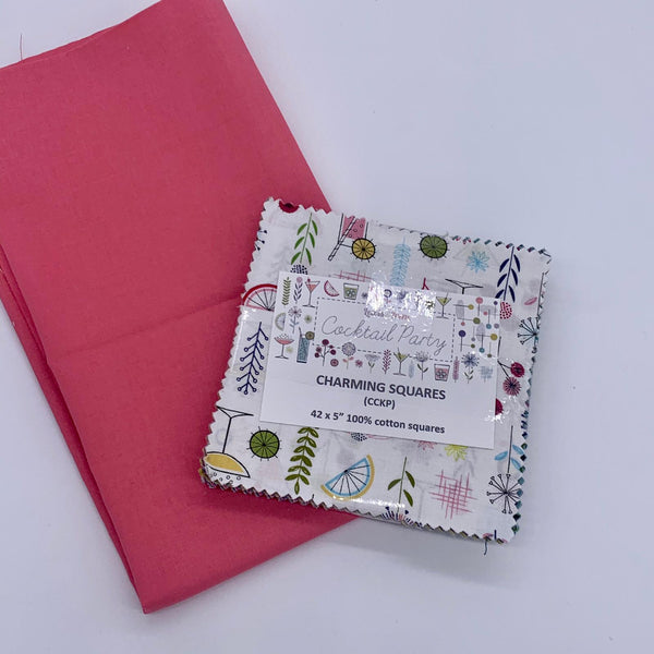 Lewis & Irene Charm Pack with FREE Coordinating Half Metre: Cocktail Party with Coral