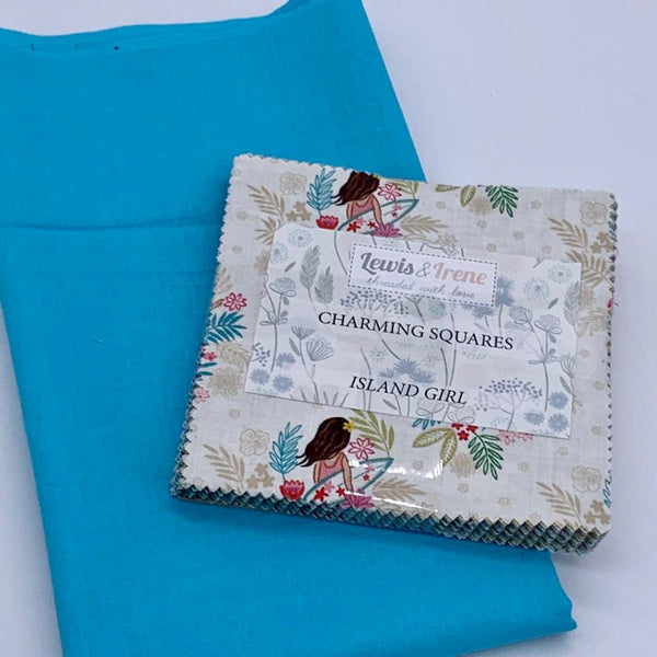 Lewis & Irene Charm Pack with FREE Coordinating Half Metre: Island Girl with Sky Solid