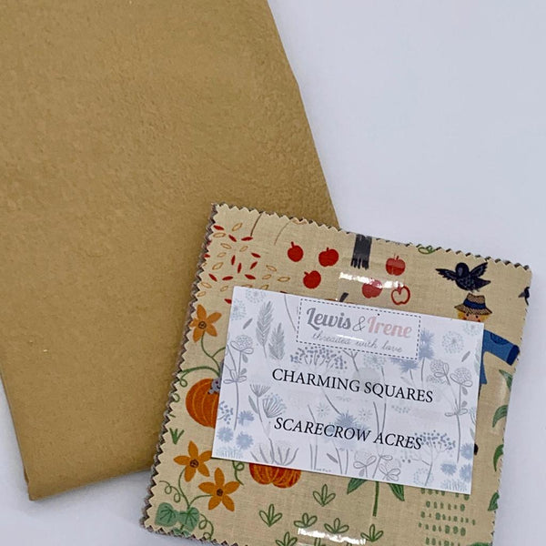 Lewis & Irene Charm Pack with FREE Coordinating Half Metre: Scarecrow Acres with Sand Salt Batik