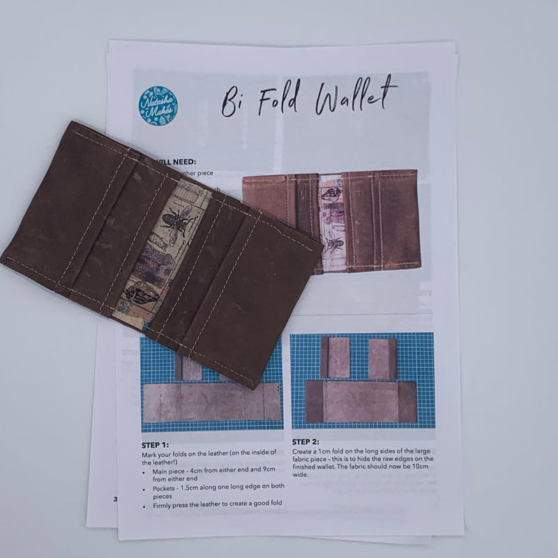 Leather bi-fold wallet INSTRUCTIONS ONLY, scrap bag version Instructions | Natasha Makes