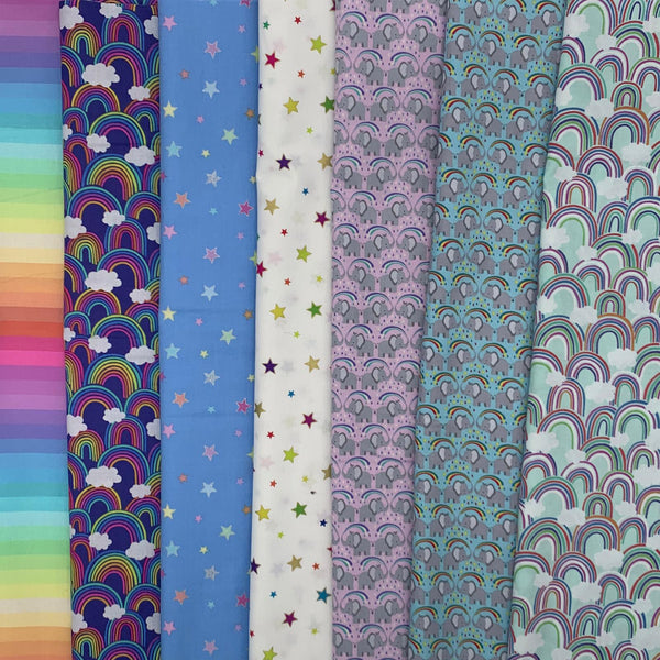 Lewis & Irene 'Rainbows, Stars and Elephants' Half Metre x 7 Bundle