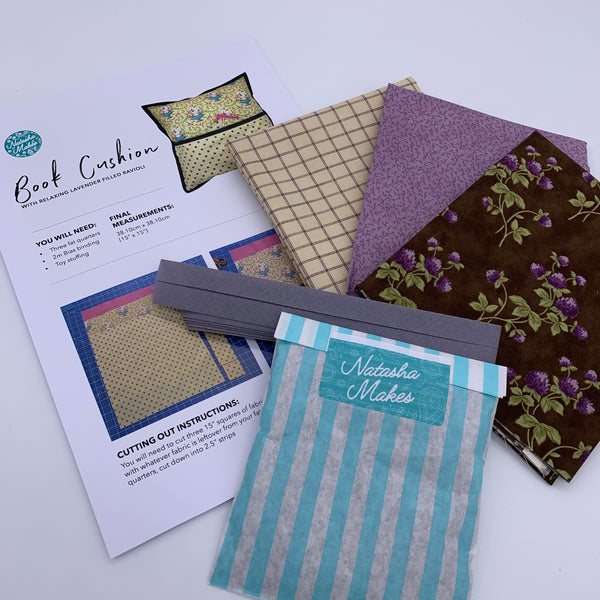 Moda - Sweet Violet Book Cushion Kit with Lavender Ravioli: Option 2 Kit | Natasha Makes