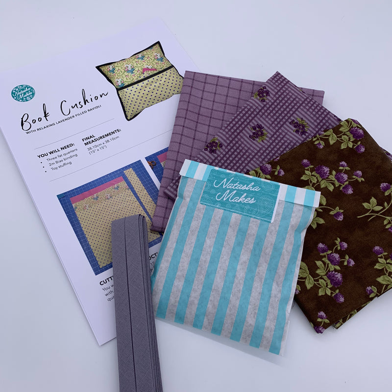 Moda - Sweet Violet Book Cushion Kit with Lavender Ravioli: Option 3 Kit | Natasha Makes
