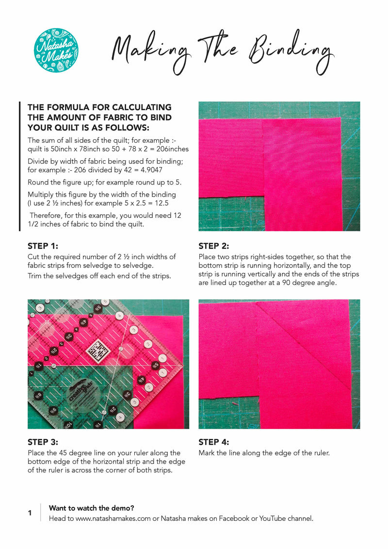 Making Binding for your Quilt - INSTRUCTIONS