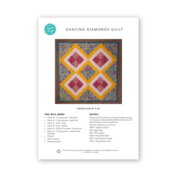 Dancing Diamonds Quilt:  Physical Instructions