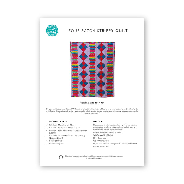 Four Patch Strippy Quilt: Physical Instructions