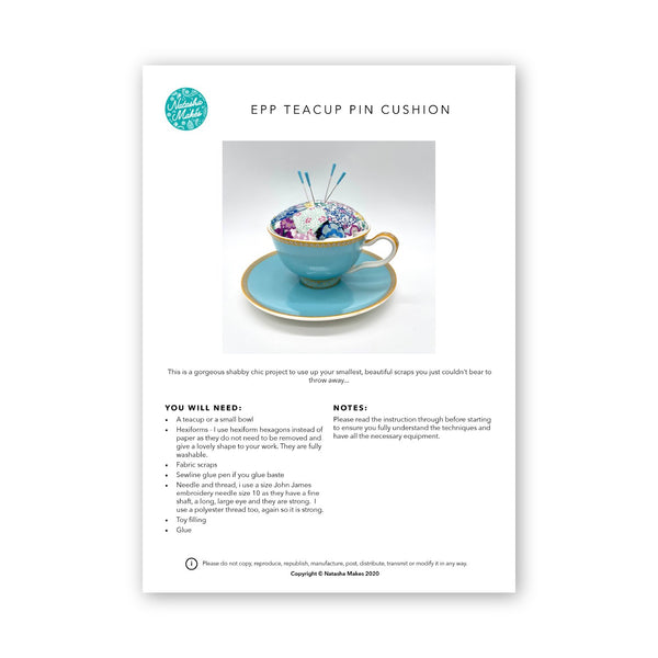 EPP Teacup Pincushion: Physical Instructions