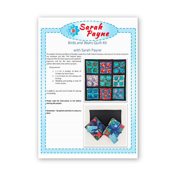Sarah Payne: 'The Birds and the Bears' Quilt Pattern/Instructions: PRINTED