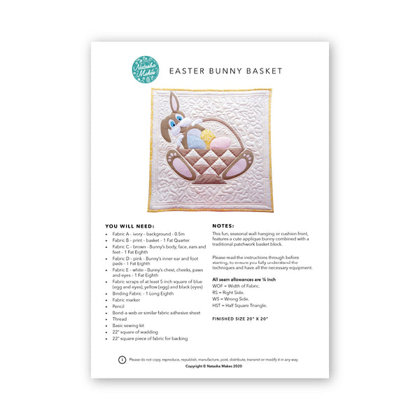Easter Bunny Basket - Printed Instructions