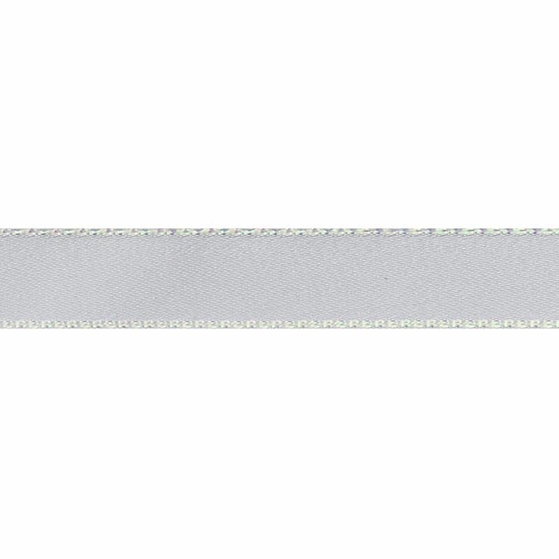 Iridescent Edge Satin: 5m x 15mm - White