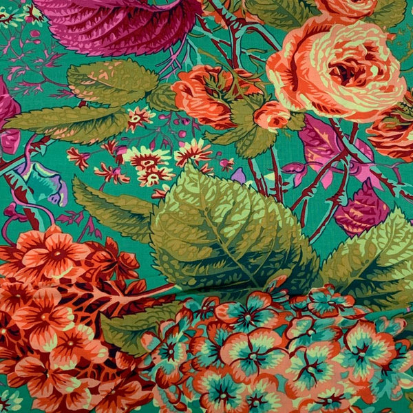 Kaffe Fassett Collective: Rose and Hydrangea Green 1/2m
