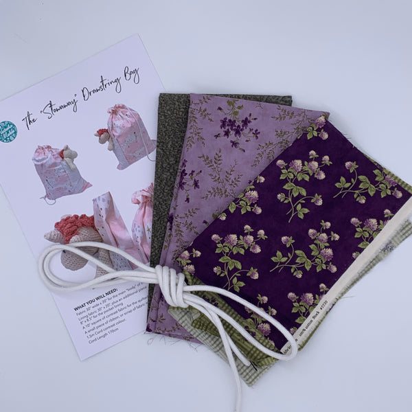 Stowaway Drawstring Bag Kit - Moda Sweet Violet Kit | Natasha Makes