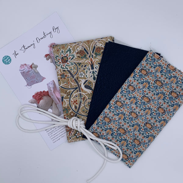 Stowaway Drawstring Bag Kit - William Morris 'Montagu' Kit | Natasha Makes