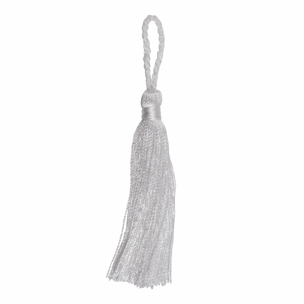 Pair of Tassels: 10cm: White