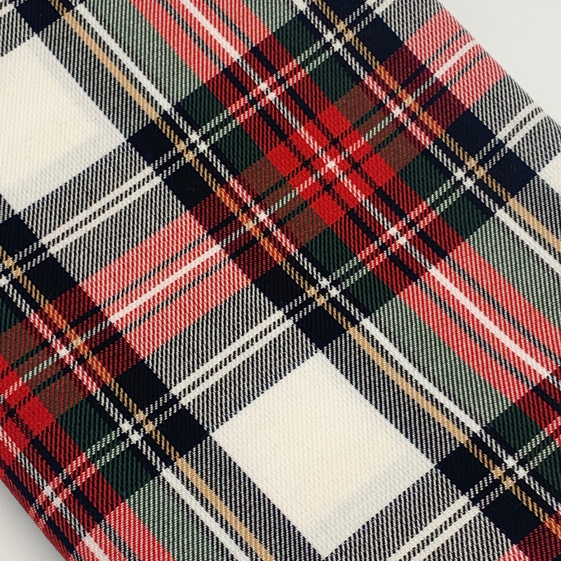 POLYVISCOSE TARTAN SOLD BY THE METER - Red, White and Black Fabric | Natasha Makes