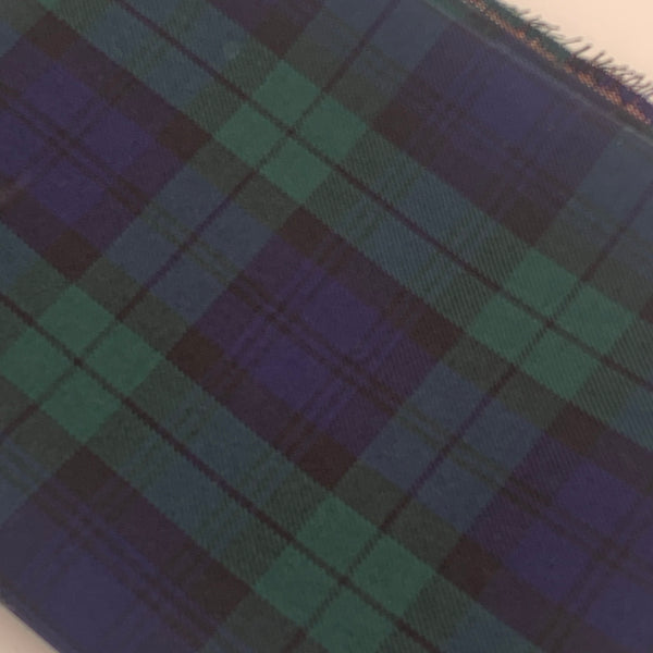 POLYVISCOSE TARTAN SOLD BY THE METER - Blue and Green Fabric | Natasha Makes